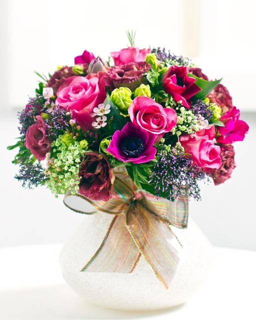 Низкий букет в розовых тонах