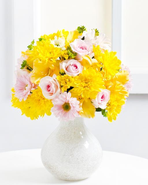 Букет с жёлтыми хризантемами